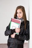Fashionable young brunette student. Stock Photo