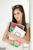 Fashionable young brunette student. Stock Photography