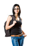 Fashionable young brunette student. Stock Image