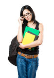 Fashionable young brunette student. Royalty Free Stock Images