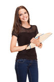 Fashionable young brunette student. Royalty Free Stock Image