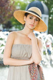 Fashionable young brunette woman. Royalty Free Stock Image