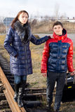 Fashionable young couple in warm winter clothing Stock Photo