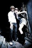 Fashionable young couple wearing sunglasses. Art photo Royalty Free Stock Image