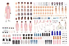 Fashionable young girl creation set or DIY kit. Collection of body parts, trendy clothes, stylish accessories, faces. Postures. Female cartoon character. Front stock illustration