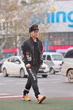 Fashionable young man in city center, Yiwu, China stock images