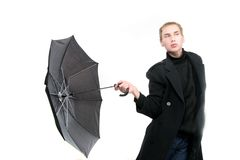 Fashionable young man with umbrella Royalty Free Stock Photo