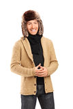 Fashionable young man with winter hat Stock Photos