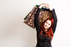 Fashionable young shopper. Royalty Free Stock Photos