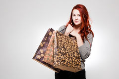 Fashionable young shopper. Royalty Free Stock Photo