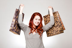 Fashionable young shopper. Royalty Free Stock Images
