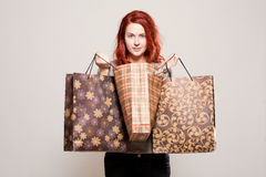 Fashionable young shopper. Royalty Free Stock Image