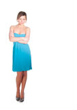 Fashionable young woman in beautiful blue dress posing at studio Stock Image