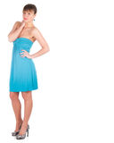Fashionable young woman in beautiful blue dress posing at studio Stock Photo
