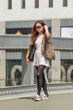 Fashionable young woman, Beijing downtown, China Royalty Free Stock Photography