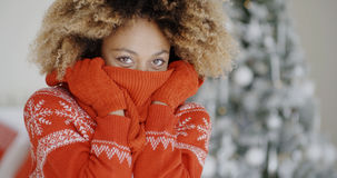 Fashionable young woman at Christmas Royalty Free Stock Images