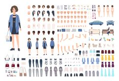 Fashionable young woman DIY or animation kit. Collection of girl`s body parts, gestures, emotions, stylish clothes. Trendy accessories isolated on white stock illustration