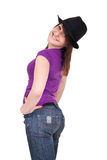 Fashionable young woman with hat Royalty Free Stock Photography