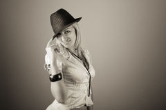 Fashionable young woman in hat Royalty Free Stock Photo