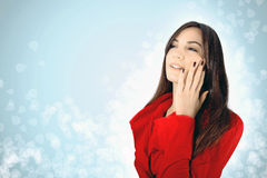 Fashionable young woman in red Royalty Free Stock Photography