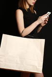 Fashionable young woman with shopping bag Stock Photos