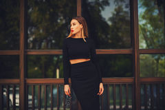 Fashionable young woman in skirt Royalty Free Stock Image