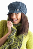 Fashionable Young Woman Wearing Knitwear In Studio Royalty Free Stock Photo