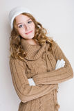 Fashionable young woman in winter outfit. Royalty Free Stock Photography