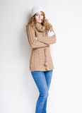Fashionable young woman in winter outfit. Royalty Free Stock Photos