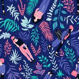 Fashionable young women in casual style with tropical leaves on the dark background. Vector hand drawn stylish seamless pattern. royalty free illustration