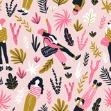 Fashionable young women in casual style with tropical leaves on the pink polka dot background. Vector stylish seamless pattern. stock illustration