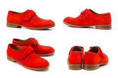 Fashionable youth shoes in four angles. Isolated Stock Photography