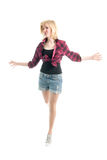Fashionale teenage girl jumping Royalty Free Stock Photos