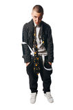 Fashionate hip-hop young man on white Stock Image