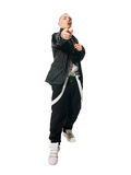 Fashionate hip-hop young man on white Royalty Free Stock Photo
