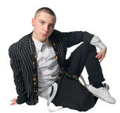 Fashionate hip-hop young man on white Royalty Free Stock Image