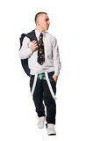 Fashionate hip-hop young man on white Stock Photos