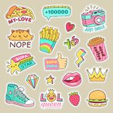 Fashioned girl badges, cute stripes and cartoon patches. Teenage badge with fashion sneakers, food and camera vector vector illustration