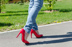 Fashioned woman walking in park Stock Photography