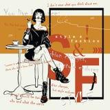 Fashiongirl в стиле эскиза сидит в кафе Стоковое фото RF