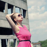 Fashionista in pink dress Royalty Free Stock Image