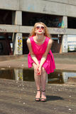 Fashionista in pink dress Stock Images