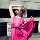 Fashionista in pink dress Royalty Free Stock Images