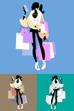 Fashionista Shopaholic calls. The image of the girl with the purchase after the sale royalty free illustration