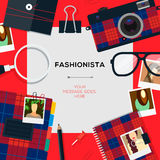 Fashionista template with accessories Stock Images