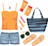Fashionset of summer clothes Stock Photo