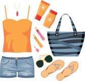 Fashionset van de zomerkleren Stock Foto