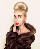 Fashoin model in brown mink fur coat Stock Image