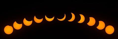 Fasi dell'eclissi solare parziale il 21 agosto 2017 Immagine Stock Libera da Diritti