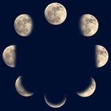 Fasi della luna Fotografie Stock Libere da Diritti